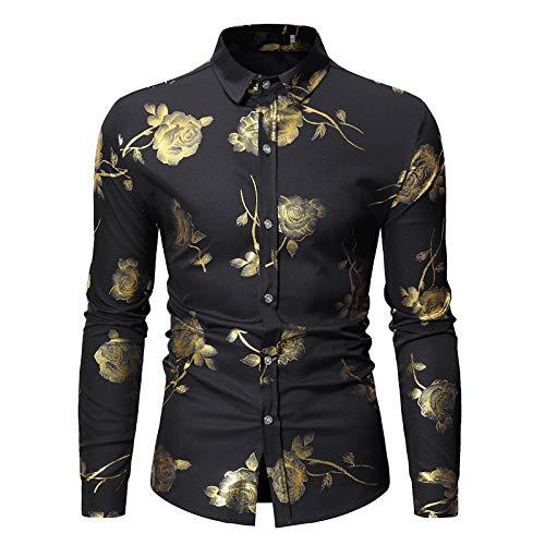 Jinyuan Mens Hipster Gold Rose Shirt Hombres Floral Print Luxury Slim