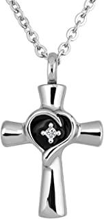 Cross Urn Necklace for Ashes Stainless Steel Keepsake Memorial Cremation
