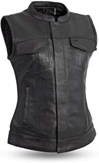 First Mfg Co Women's First Manufacturing Ludlow Ladies Leather Club Style Vest with Collar (Black, Medium)