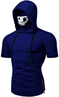 Winsummer Men's Skull Mask Pattern Hoodie T-Shirt Casual Short Sleeve Hooded Tops Tees