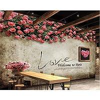 Iusasdz カスタム壁紙リフォーム背景バーKtv装飾背景壁レトロノスタルジアローズテレビ壁3D壁紙-120X100Cm