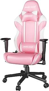 Silla Rosa para niña Silla ergonómica para computadora Silla Ajustable para Juegos, Silla para Videojuegos para Adultos, Silla para Oficina ejecutiva (Color : Pink, Size : 70 * 70 * 140cm)