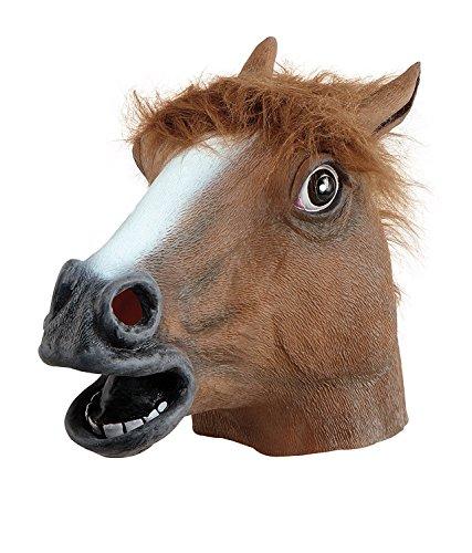 JRing Maschera Testa - Testa di Cavallo in Gomma Maschera Marrone, Lattice di gomma della testa di Cavallo Costume Maschera di Halloween Gangnam Style Dance-One (Brown)
