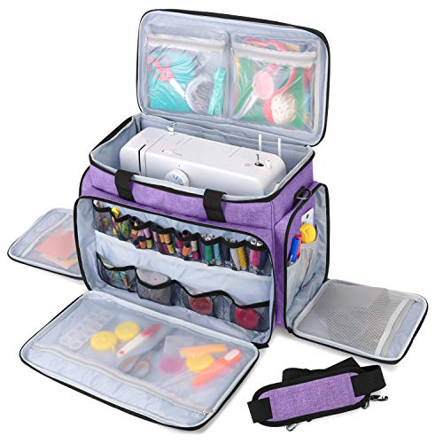 Luxja Sewing Machine Carrying Bag with Removable Padding Pad, Travel Case for Sewing Machine and Accessories (Fit for Most Standard Sewing Machines), Purple (Bag Only)