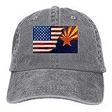 N  A Arizona con bandera americana, gorra de béisbol vintage para hombre y mujer