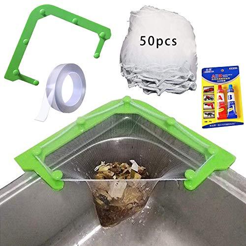 ZXZXC Küchenspüle Sieb Netz Set, Dreieck Spülbecken Filter Waschbecken mit 50/100 Netzen,...