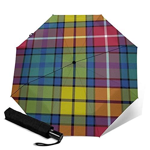 Automatischer dreifach faltbarer Regenschirm, stabiler, automatisches Öffnen und Schließen, winddicht, wasserabweisend, faltbar, UV-Schutz, antikes Tartan