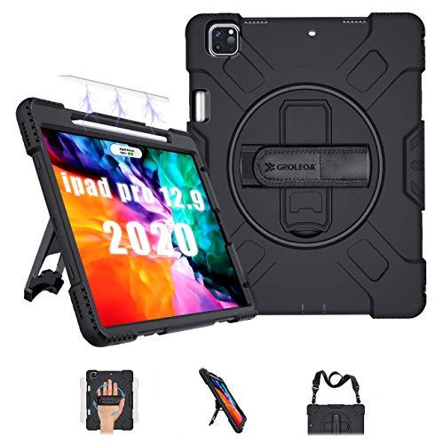 GROLEOA iPad Pro 12.9 Hülle 2020/ Hülle 2018 mit Verstellbar Schultergurt, Handschlaufe, 360°Ständer & Stifthalter für iPad Pro 12.9 Zoll 2020 4.Generation, Unterstützung Pencil Aufladen, Schwarz…