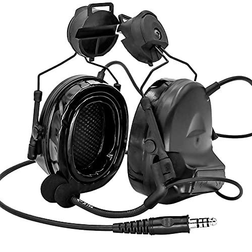 AQzxdc Auriculares tácticos de Seguridad PTT con Anillo Remoto, Radio Walkie Talkie, Auriculares Militares, orejera, micrófono con cancelación de Ruido, walkie dedicado para Casco,Negro