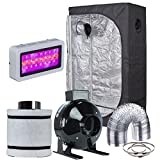 Hydro Plus Mushroom Growing Kit Grow Tent Complete Kit LED 300W Grow Light+36''x20''x63'' Grow Tent+4' Filter Fan Ventilation Combo Hydroponic Indoor Growing System