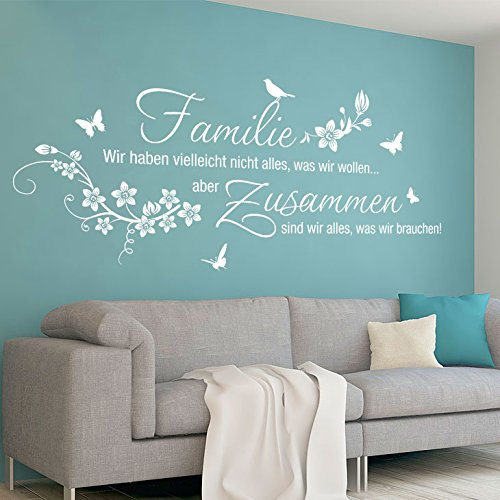 Grandora W5453 Wandtattoo Wandaufkleber Familie wir haben vielleicht nicht alles was wir wollen Wohnzimmer Flur schwarz (BxH) 110 x 47 cm