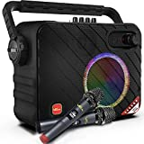 """Portable Karaoke Machine, VeGue Bluetooth PA System with 6.5"""" Subwoofer, Colorful LED Lights, 2 UHF Wireless Mics, Ideal for Various Indoor/Outdoor Activities(VS-0650)"""