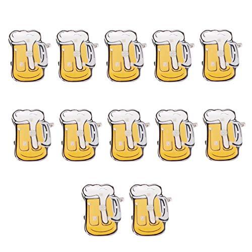 NUOBESTY Spilla di Cartone Animato Boccale di Birra Lampeggiante LED Acceso Badge Oktoberfest Decorazioni Festival della Birra favorisce 12 Pezzi (Colore Casuale)