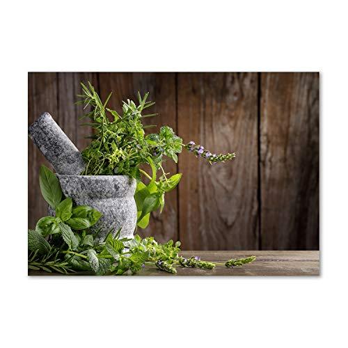 Tulup Acrylglas - Wandkunst - Bild auf Plexiglas® Deko Wandbild hinter Kunststoff/Acrylglas Bild - Dekorative Wand für Küche & Wohnzimmer 100 x70 cm - Essen & Getränke - Kräuter in Mörser - Grün