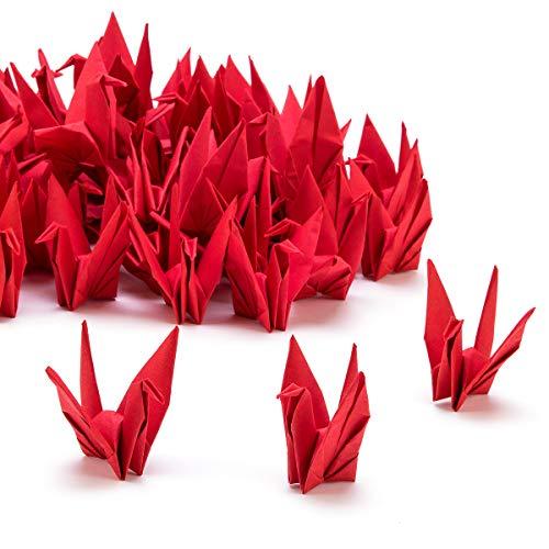 PARBEE 100 Pcs Folded Origami Paper Cranes, DIY Japanese Crane Mobile String Garland Hanging Bird Ornaments for Wedding Backdrop Decoration
