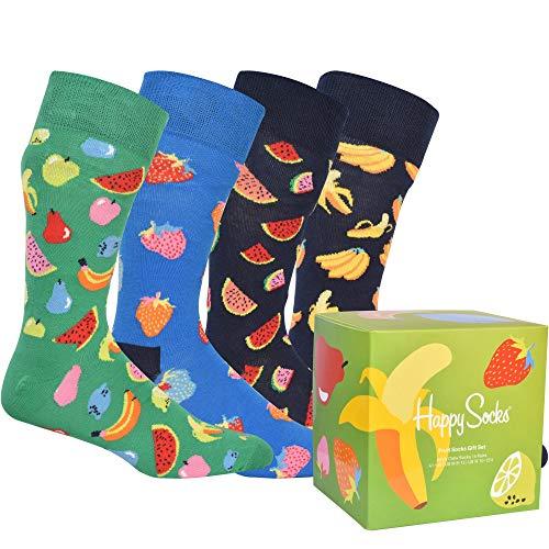 Happy Socks Fruit Socks Gift Set 4-Pack farbenfrohe und verspielte Geschenkboxen für Männer und Frauen, Premium-Baumwollsocken, 4-Paare,Größe 41-46