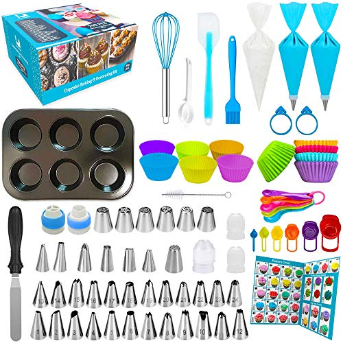 Cupcake Decorating Kit with Piping Bags And Tips Set 290 pcs Cupcake Baking Pan Cake Decorating Kit 37 Icing Tips with 102 Pastry Bags Baking Tools Cupcake Cups and Other Cake Cupcake Baking Supplies