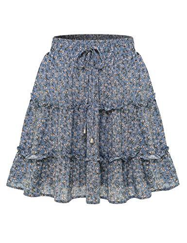 Bbonlinedress Damen Rock Röcke Sommerrock Minirock Kurz Röcke Skirts im Sommer A-Blue Flower M
