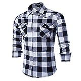 Timagebreze Camisa a Cuadros para Hombre Moda Casual BotóN de Joya Camisa Delgada de Manga Larga para Hombre Negro S