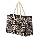 Borsa Grande Beach Bag Leopard o Jaguar modello animale senza saldatura moderna spalla per le donne - Borsa borsa con maniglie