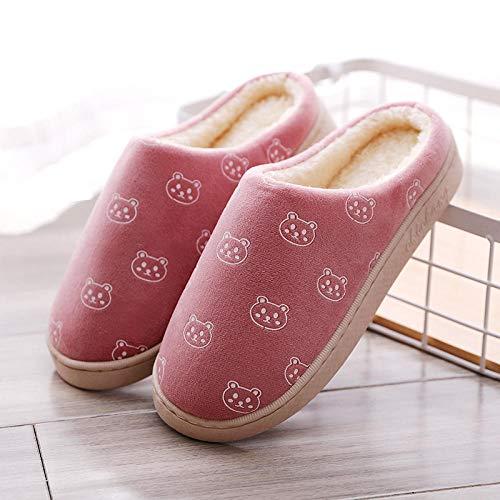lanying Casa Zapatos Antideslizante Pantuflas Zapatillas Antideslizantes y cálidas en otoño e Invierno, Zapatillas cálidas y cómodas para Interior y Exterior-Rojo_37/38