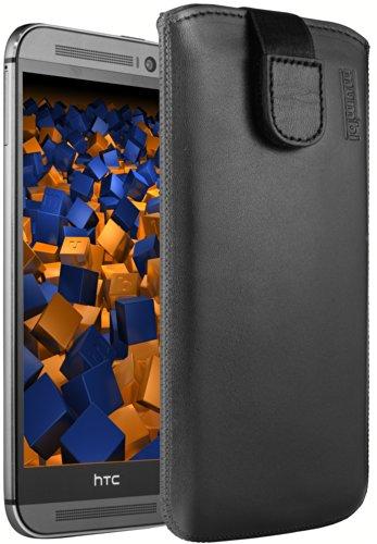 mumbi Echt Ledertasche kompatibel mit HTC One M8 / M8s Hülle Leder Tasche Hülle Wallet, schwarz