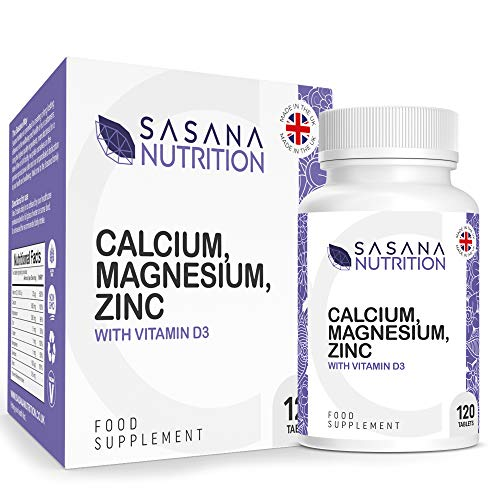 Sasana Nutrition Calcium Magnesium Zinc and Vitamin D - 120 High Strength Calcium Complex with Vitamin D3, Magnesium and Zinc Supplements - Calcium Tablets Manufactured in The UK