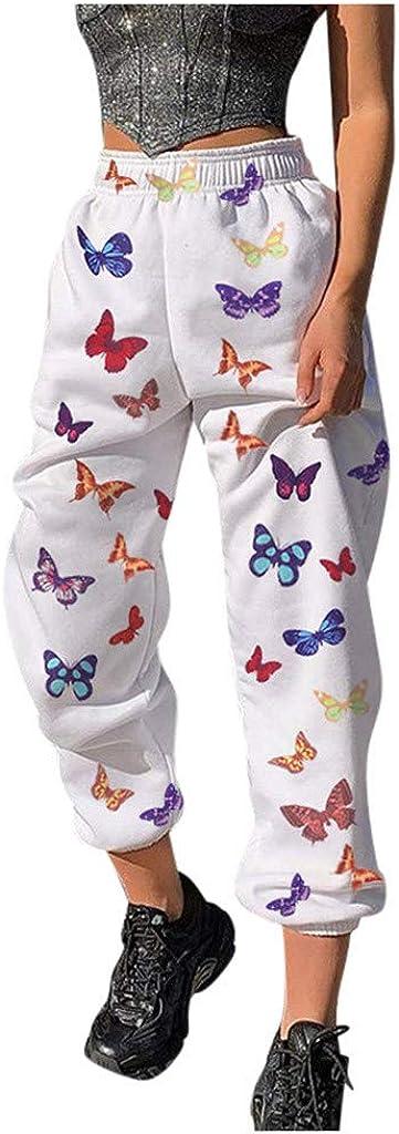 WUAI-Women Comfy Casual Drawstring Joggers Elastic Waist Loose Butterfly Printed High Waist Palazzo Loose Sports Pants
