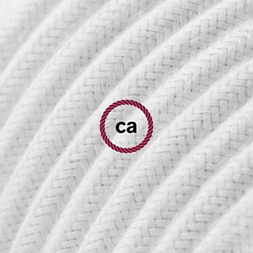 Creative-Cables Cable Eléctrico Redondo Recubierto en Algodón Color Sólido Blanco RC01-10 Metros, 2x0.75