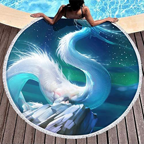 MINNOMO Toalla de playa redonda con diseño de serpiente de dragón con borlas, duradera, pareo blanco, 150 cm