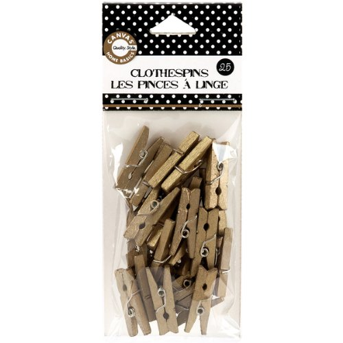 Canvas Home Basics CLS2160 Clothespins, Mini, Gold