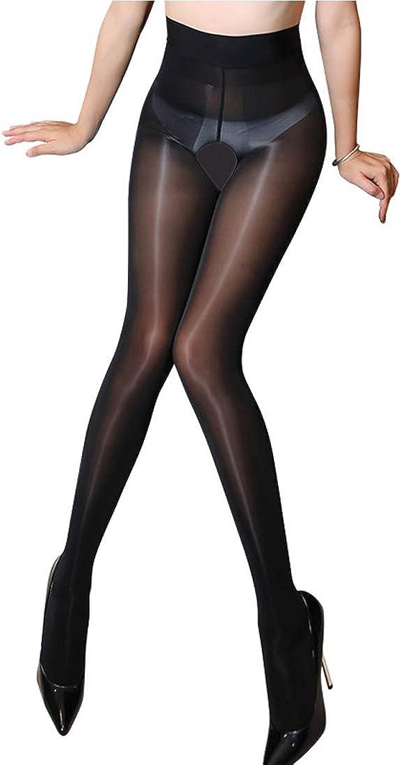 Sexy temptation transparent shiny Glossy open Crotch stockings high waist pantyhose