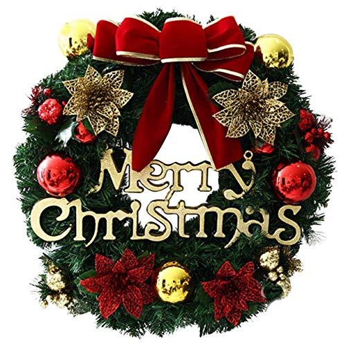 THEE Frohe Weihnachten Türkranz Weihnachtskranz Adventskranz hängend Wandanhänger Dekoration (30cm, rote Schleife)