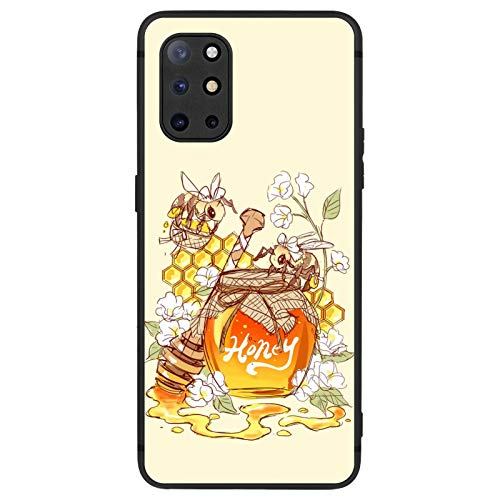 FAUNOW Designed for OnePlus 8T Matte Case Ultra-thin Shockproof Protective Black Cover with Honey and Bees