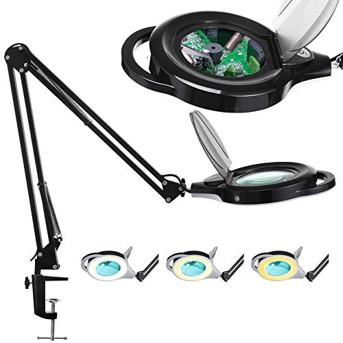 Magnifying Glass LED Lamp, KIRKAS New Modes 3 Color Light and Stepless Dimming Magnifier Clamp Lamp, 2.25X Real Glass Lens, Adjustable Swivel Arm Magnifying light for Close Work, Repair, Crafts- Black