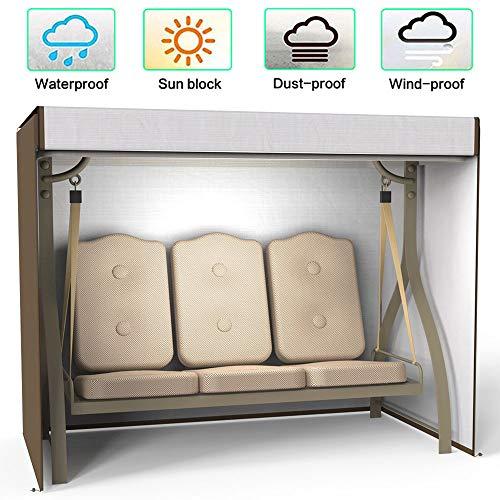 willkey Hollywoodschaukel Schutzhülle Abdeckung 3 Sitzer Wasserdicht, Winddicht, UV-Beständiges 190T Abdeckung für Gartenschaukel 220x125x170cm (Braun)