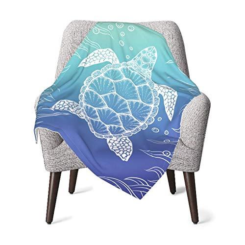 Vivid Color Ocean Turtle Manta de bebé de microfibra súper suave para niños y niñas