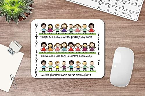 Regalo per le maestre Tappetino per mouse con disegno di bimbi con nomi e dedica alla maestra Idea regalo fine anno scolastico ritorno a scuola