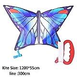 WOHAO Juguete Volador Kite Suave, Cabritos Cometa Cometas for niños fácil de Volar con Deportes al Aire Libre Cometas Gradual Mariposa Azul Adecuado for Juegos al Aire Libre for niños (Color: Azul)