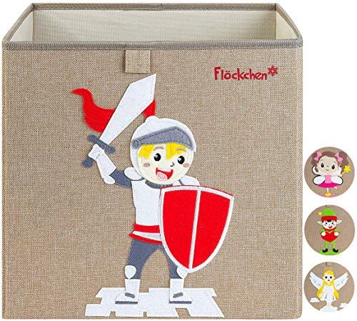 Flöckchen Kinder Aufbewahrungsbox, Spielzeugbox für Kinderzimmer I Spielzeug Box (33x33x33) passt ins Kallax Regal I Kinder Märchen Motiv (Robin der Ritter)