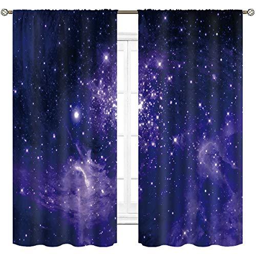Cinbloo Stars Galaxy Starry Sky Window Curtains Rod Pocket Dust Planet Nebula Blue and Purple Art Printed Living Room Bedroom Drapes Treatment Fabric 2 Panels 42 (W) x 63(L) Inch