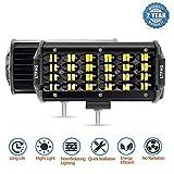 LTPAG 2pcs Focos LED Tractor, 7' 258W 25800LM Faros Trabajo LED 12V-24V Luz de Niebla para Coche,SUV, UTV, ATV, Off-Road,Camión,Moto,Barco, IP68 Impermeable - Garantía de 2 años