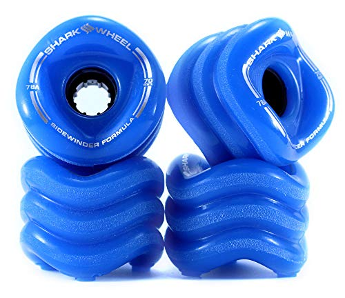 Shark Wheel Skating Wheels, Sidewinder 70 mm 78a Longboard Wheels, Shark Longboarding Wheels (Blue, 4-Pack)