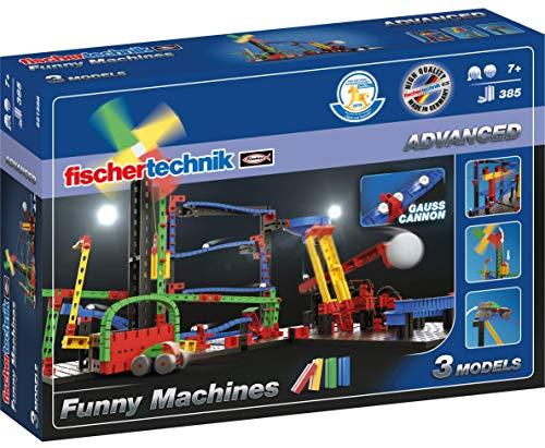 fischertechnik Funny Machines Kettenreaktion Spiel für Kinder ab 7 Jahren - 3 actionreiche Modelle sorgen für noch mehr Spielspaß in den Kinderzimmern - inklusive fischertechnik Gauß-Kanone