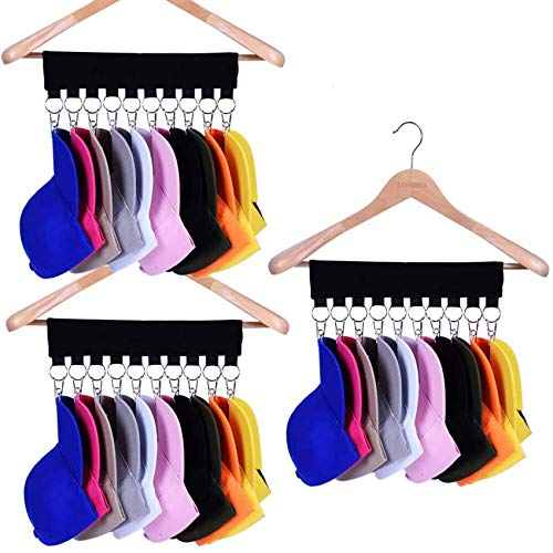 Hat Organizer Hanger, 10 Baseball Cap Holder, Hat Storage for Closet - Change Your Clothes Hanger to Ball Cap Organizer Hanger - Keep Your Hats Cleaner Than a Hat Rack - Great for Travel Use (3 Pack)