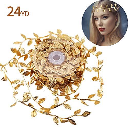 DIYASY Gold Leaf Trim Ribbon,24 Yards Artificial Silk Double Faced Leaf Ribbon for Garland Wreath and Home Decoration.