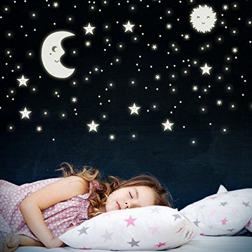 WANDKINGS Wandsticker Sonne, Mond und Sterne XL-Set 114 Sticker, Fluoreszierend & im Dunkeln Leuchtend