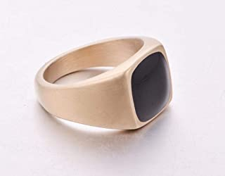 Polished Golden and Black Fashion Ring for Men US Size 9