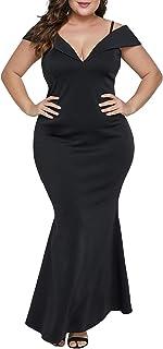 0c1e79e66de Lalagen Womens Plus Size Off Shoulder V Neck Long Evening Party Maxi Dress