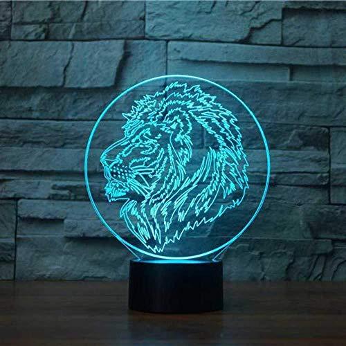 3D Ilusión visual Ilusión óptica Luz de noche para Niños cabeza de león ideal como regalo de cumpleaños para niños, niños y hombres Con interfaz USB, cambio de color colorido